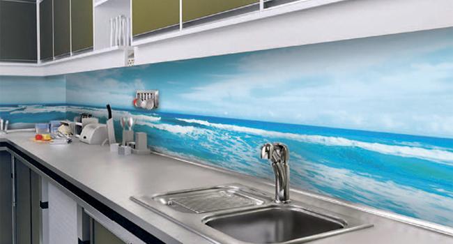 Mutfak Tezgah Arası UV Baskı Örneği